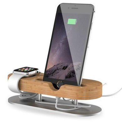 Spocket Tech Accessories Aluminum & Bamboo iPhone Apple Watch Dock