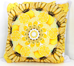 "Pillow Yellow Mandala 16"" square"