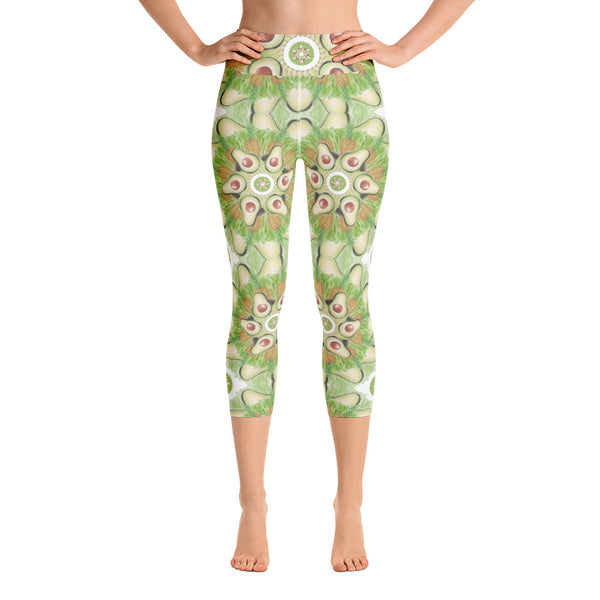 Light Green Grid Yoga Capri Leggings