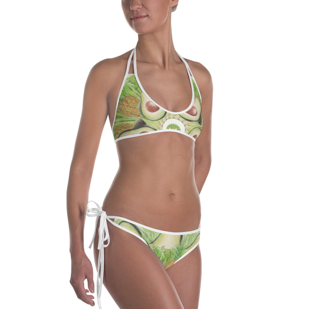 Reversible Pink and Light Green Bikini