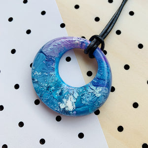 The Sophie Blue Spatter Ring Pendant