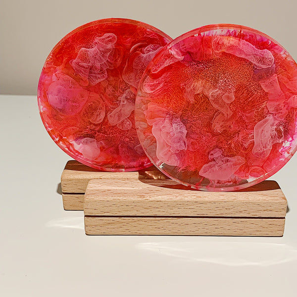 Pink Coral Resin Coaster Duo