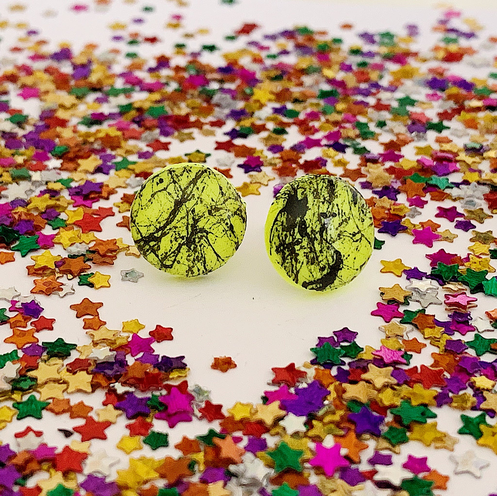 Neon Yellow Paint Spatter Studs