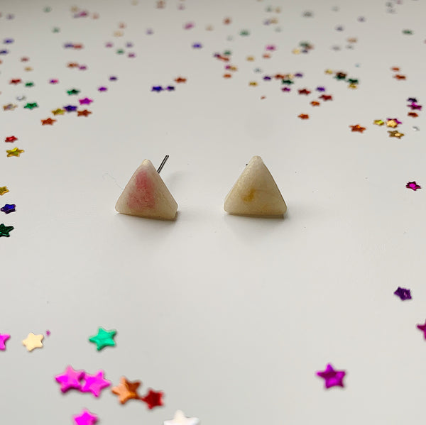 Pearlised Pinky Triangle Studs