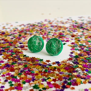 Bright Green Spatter Studs