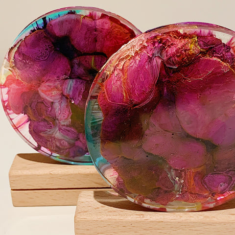 Purple Petri Coral Resin Coaster Duo