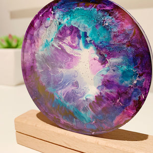 Purps & Bluez Coral Resin Coaster Duo