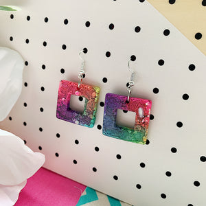Multicolour Coral Square Dangles