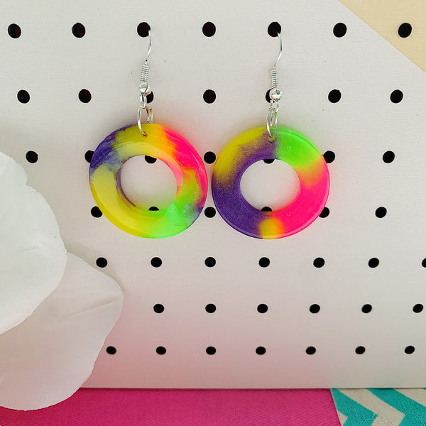 Willow Party Fluoro Washer Earrings