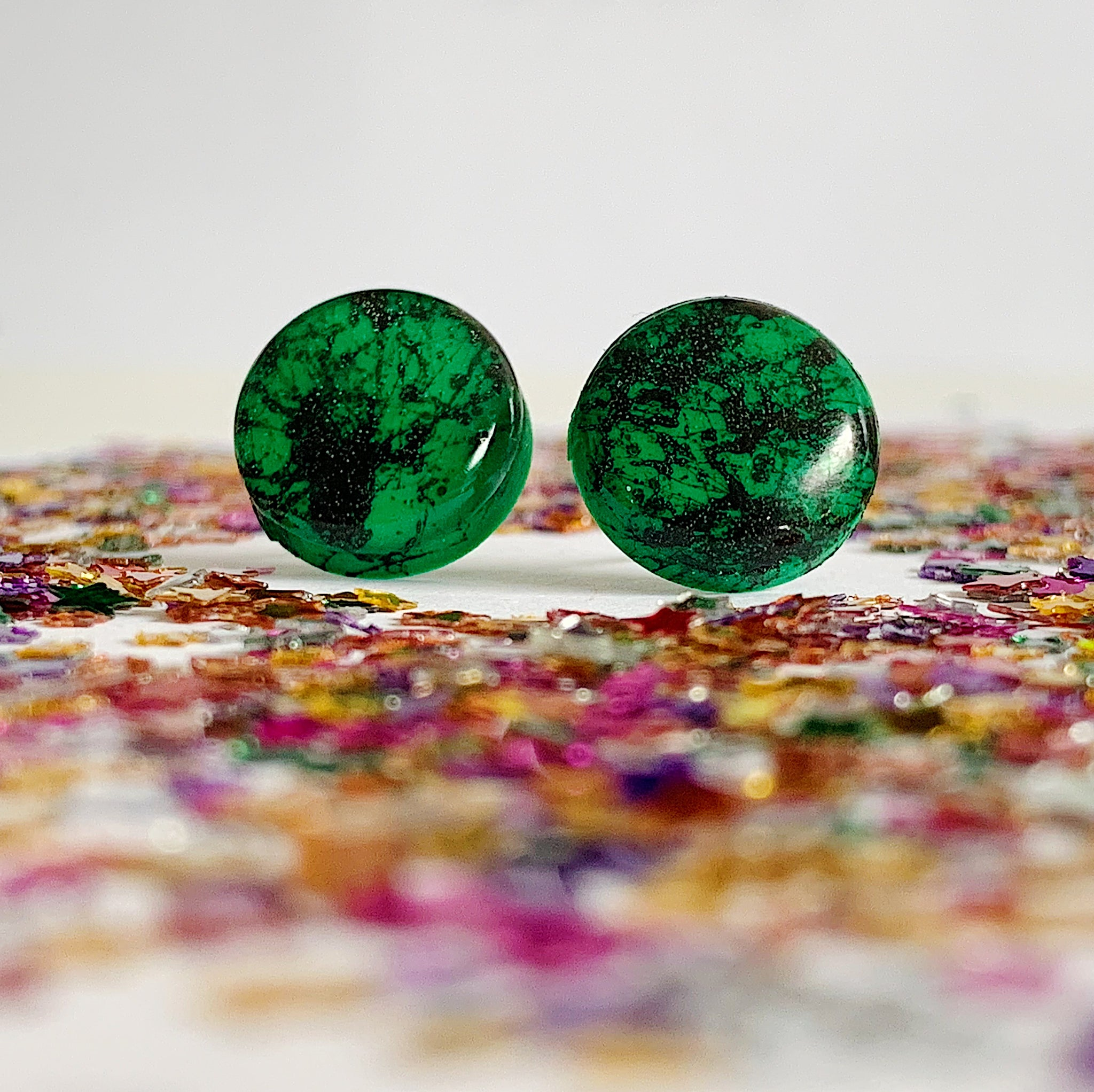 Emerald Spatter Studs