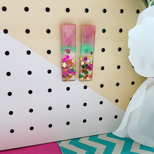 Pink and Green Frosted Bar Studs