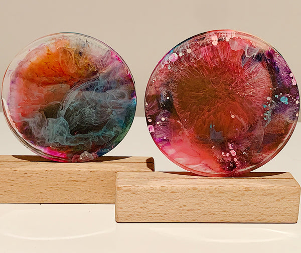 Multi-Coloured Petri Resin Coaster Duo