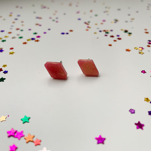High Pink Diamond Resin Studs