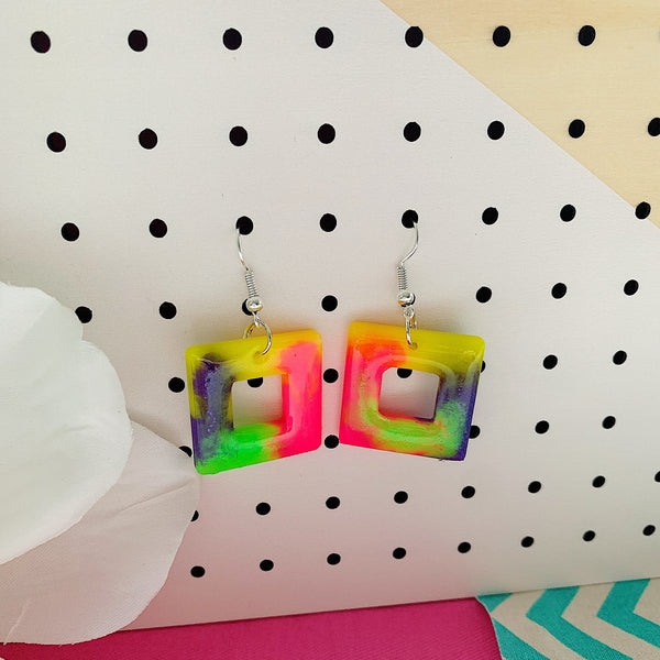 Party for a Square Fluoro Dangle Earrings