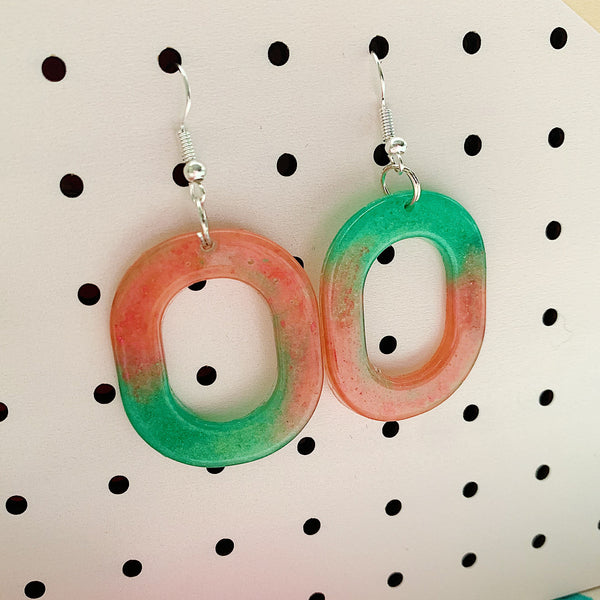 Watermelon Oval Dangle Earrings