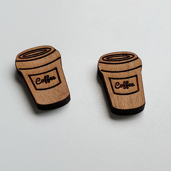 Coffee Takeaway Bamboo Studs