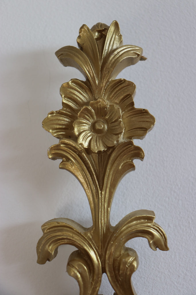 Ornate Gold Candle Sconce Set
