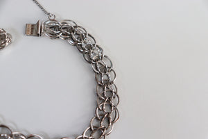 Vintage Double Twisted Curb Link Sterling Silver Charm Bracelet