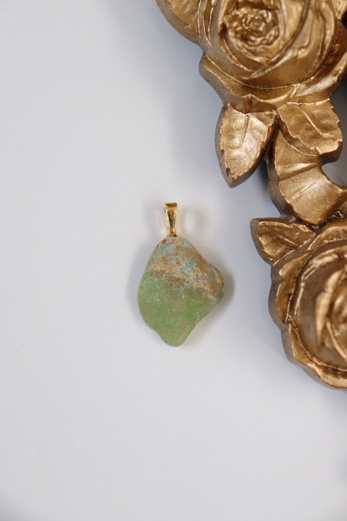 Rust + Green Sea Glass Pendant