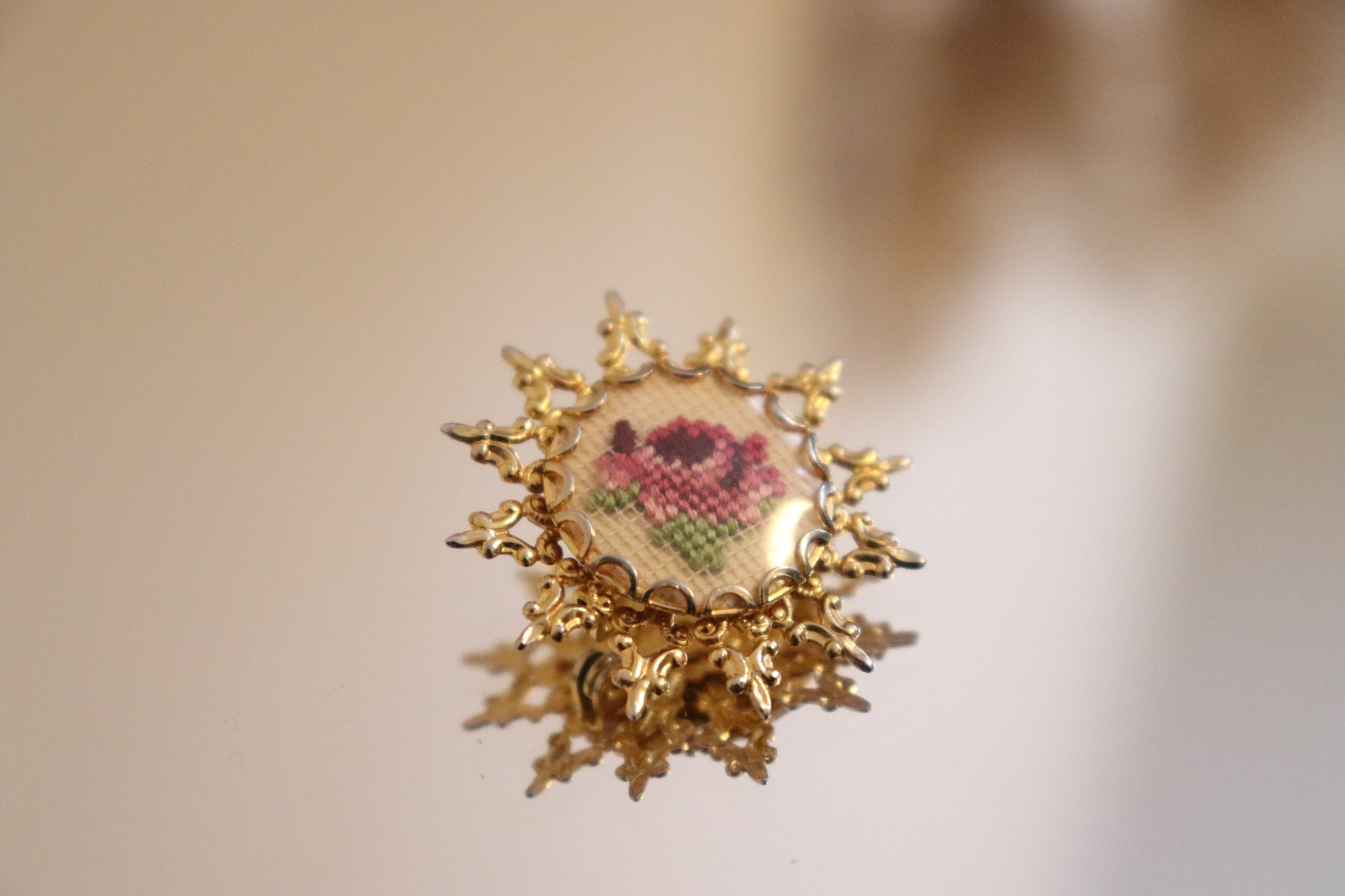 Vintage Mauve Rose Petit Point Gold Tone Star Brooch
