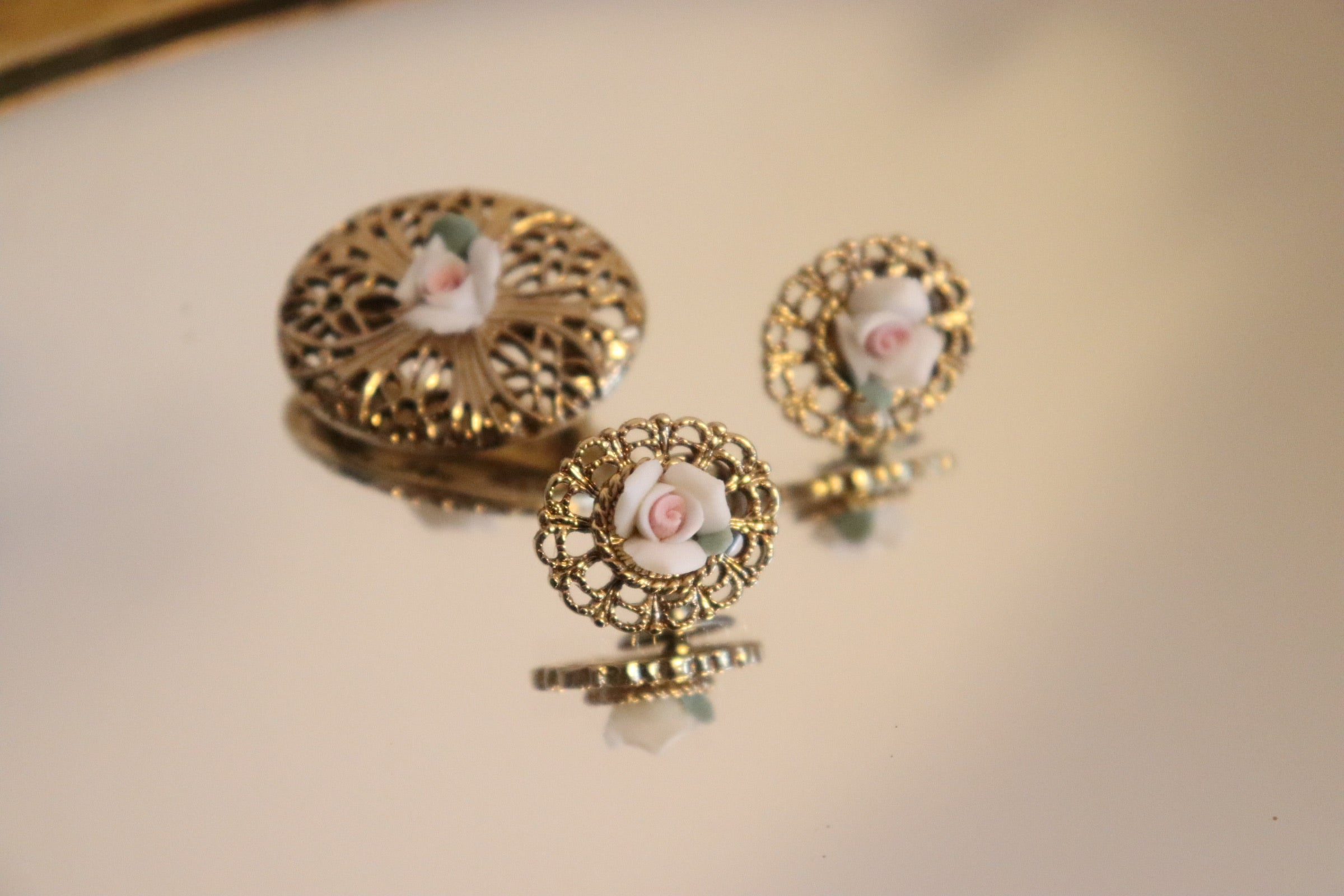 Vintage Ceramic Rose Filigree Brooch + Earrings Set
