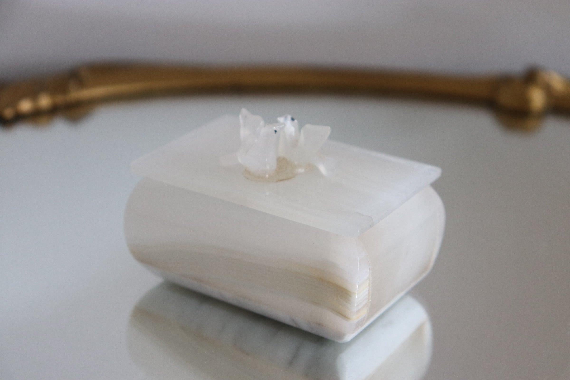 Carved Onyx Love Birds Trinket Box