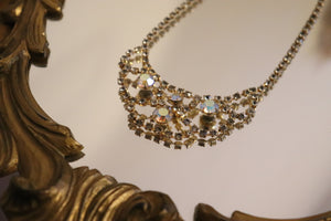 Vintage Rose Gold Rhinestone Bib Necklace