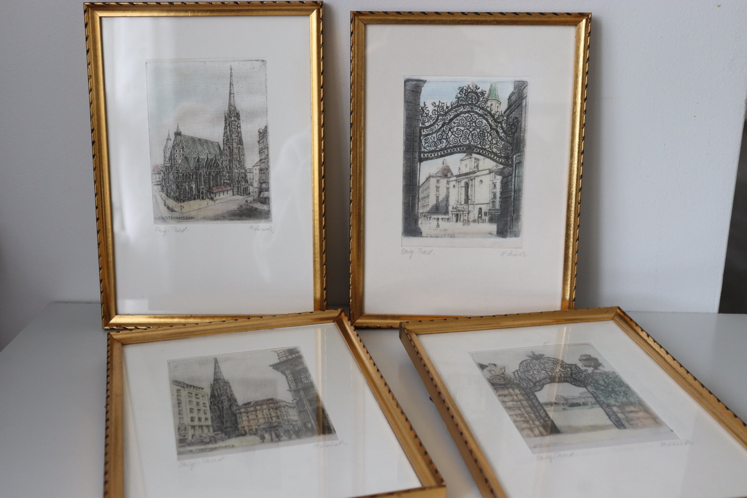 Set of 4 Vintage Hans Leisch Vienna Etchings on Silk