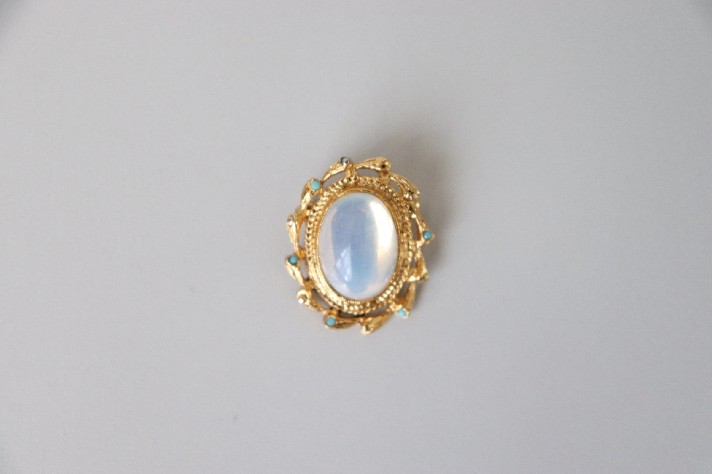 Faux Moonstone + Turquoise Brooch
