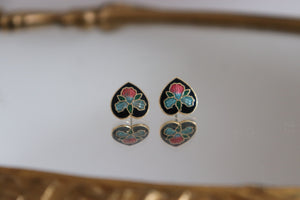 Vintage Cloisonné Heart Stud Earrings