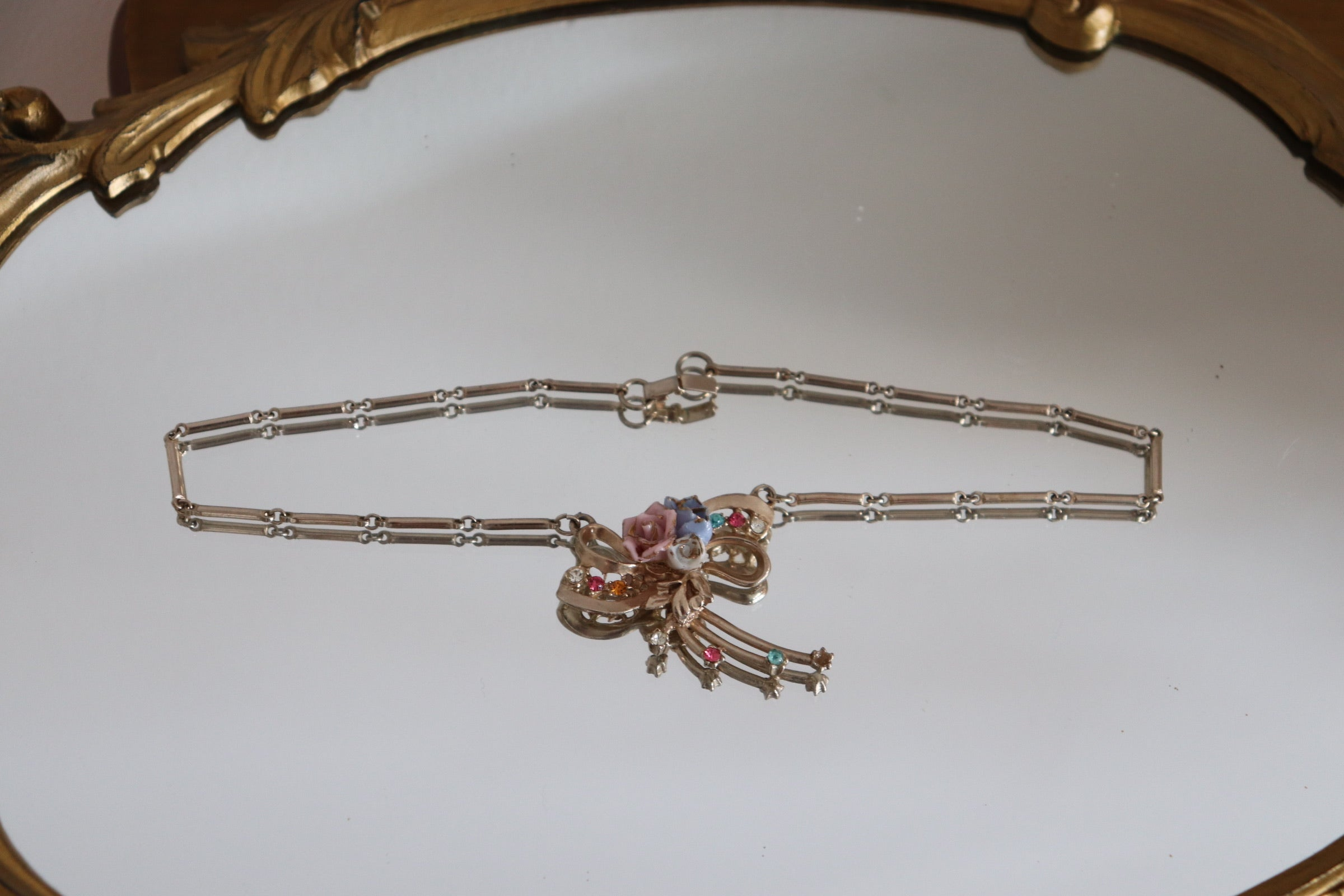 Vintage Porcelain Rose Necklace + Earrings Set