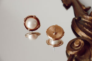 Vintage Gold + Pearl Studs