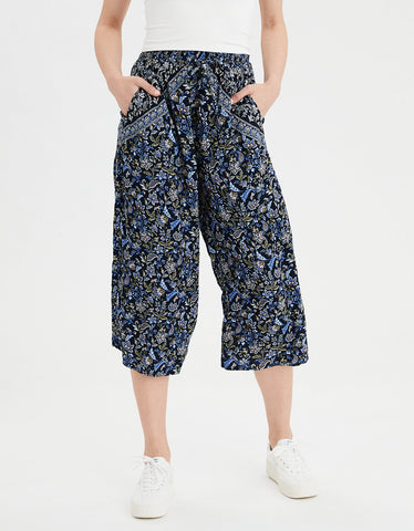 AE Tie Waist Culotte Pants in Navy
