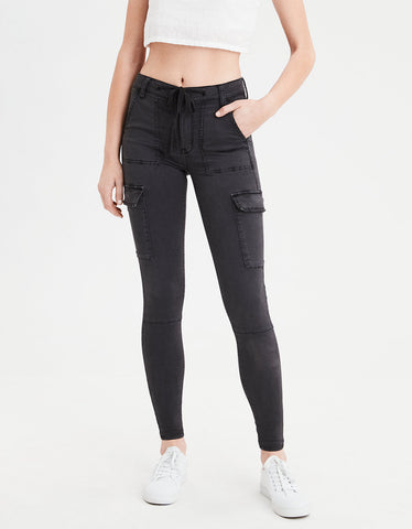 High-Waisted Jegging in Faded Black