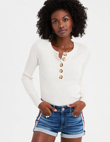 AE Button Rib Button Henley Pullover Sweater in Cream