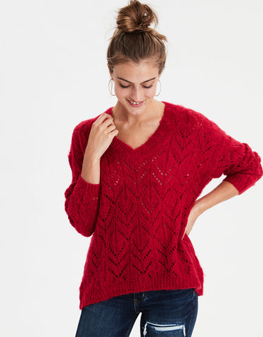 AE Slouchy V-Neck Pullover Sweater in Red