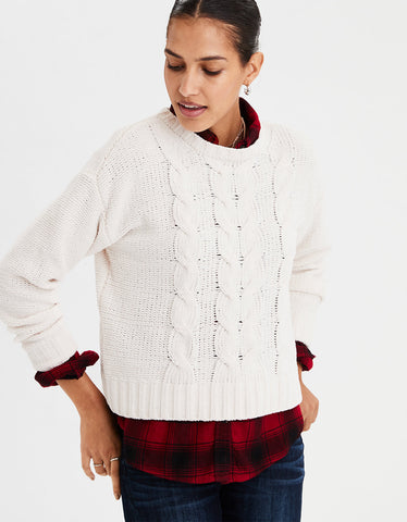 AE Impossibly Soft Cable Knit Sweater in Cream