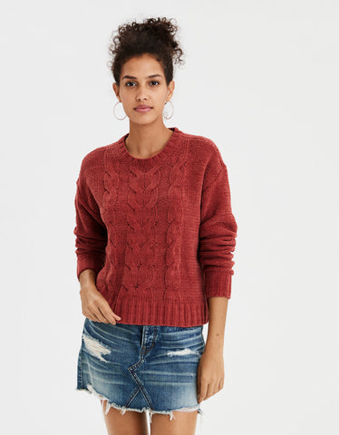 AE Impossibly Soft Cable Knit Sweater in Rust
