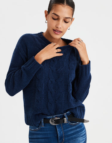 AE Impossibly Soft Cable Knit Sweater in Navy