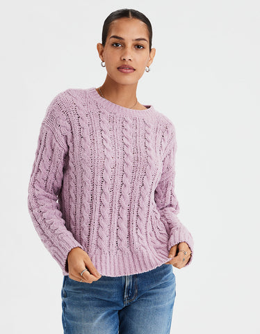 AE Impossibly Soft Cable Knit Sweater in Lively Lilac
