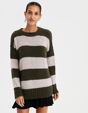 AE Rugby Stripe Pullover Sweater in Olive