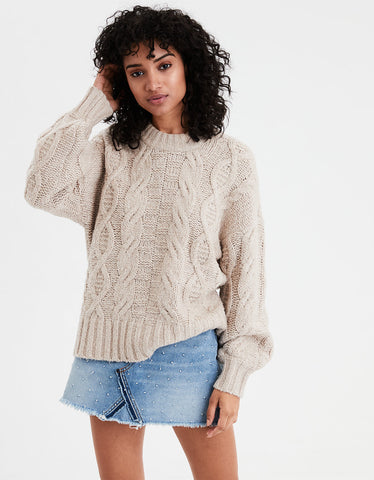 AE Chunky Cable Knit Pullover in Oatmeal