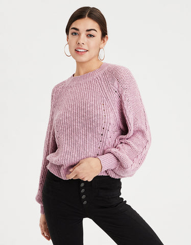 AE Chunky Cable Knit Crew Neck Sweater in Purple
