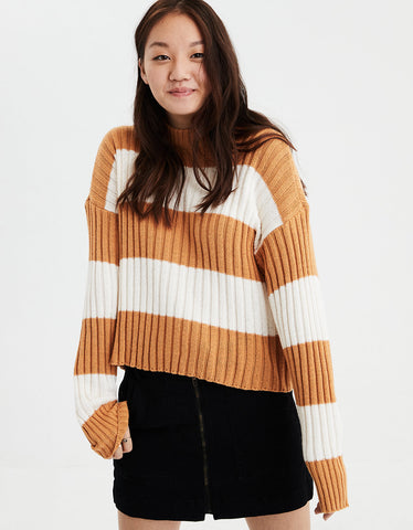 AE Rugby Stripe Rib Knit Pullover Sweater in Mustard
