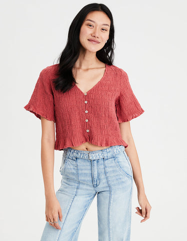 AE Smocked Short Sleeve Top in Rust