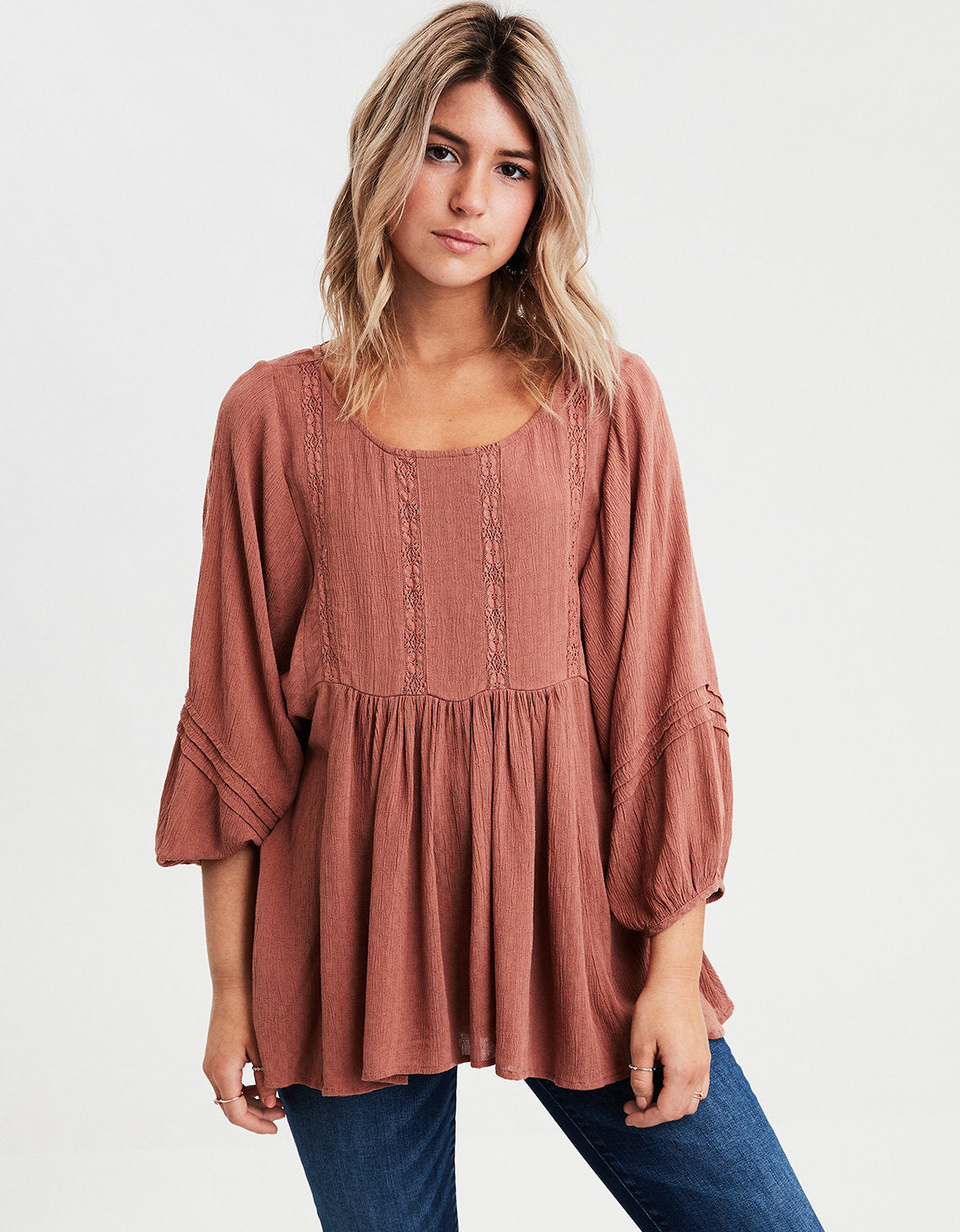 c44e3e1b9aad American Eagle | AE Long Sleeve Lace Inset Tunic in Brown | American ...