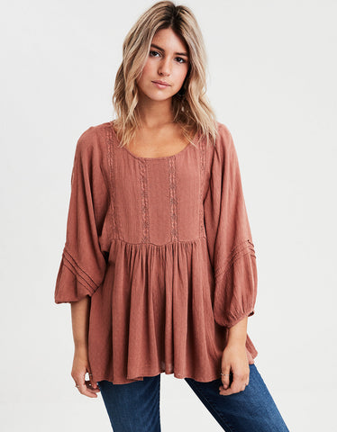 AE Long Sleeve Lace Inset Tunic in Brown