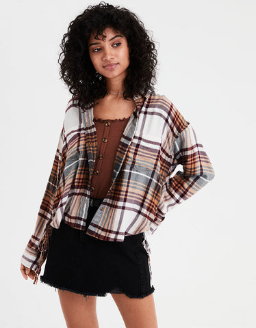 AE Ahh-mazingly Soft Plaid Lace Up Shirt in Burgundy