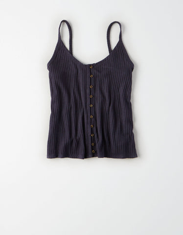 AE Button Front Tank in Washed Black