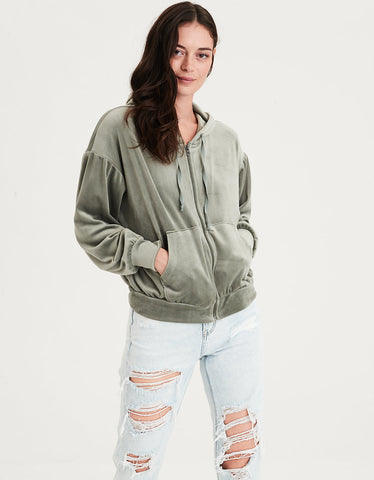 AE Ahhmazingly Soft Slouchy Velour Full Zip Fleece in Green